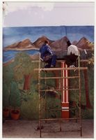 Students worrking on landscape mural