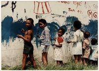 Children painting a mural