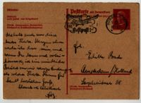 Memo concerning a postcard from Fritz Loeb in Düsseldorf (Germany) to Edith Bruch in Amsterdam, 1934