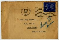 Envelope belonging to the letter from Ruth Linder, London, to Mrs Roy Sorell, Long Street, Cape Town, 1940