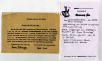 Memorandum and original written confirmation regarding Edith Bruch ending her apprenticeship with Erna Schweiger, München, Germany, 1936