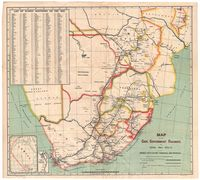 Map of the Cape Government Railways, the Royal Mail Route of the Orange River Colony, Tranvaal and Rhodesia