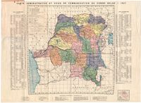 Carte administrative et voies de communication du Congo Belge