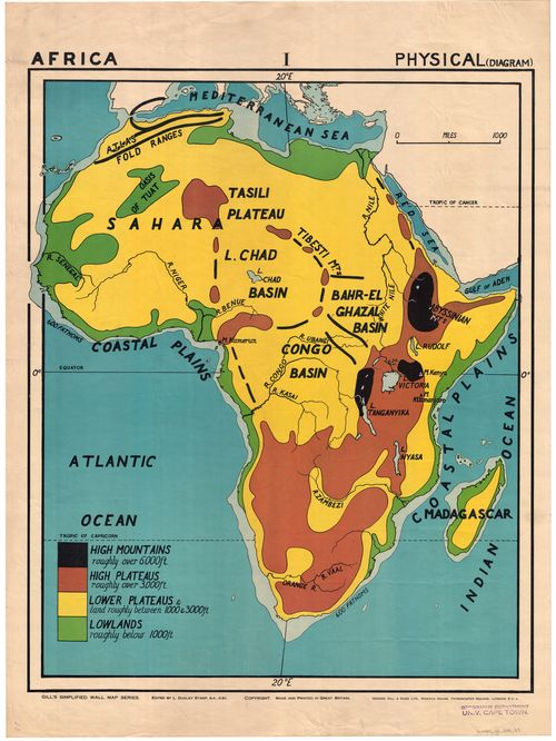 Congo Basin On Map Of Africa.Africa Physical Diagram Uct Libraries Digital Collections