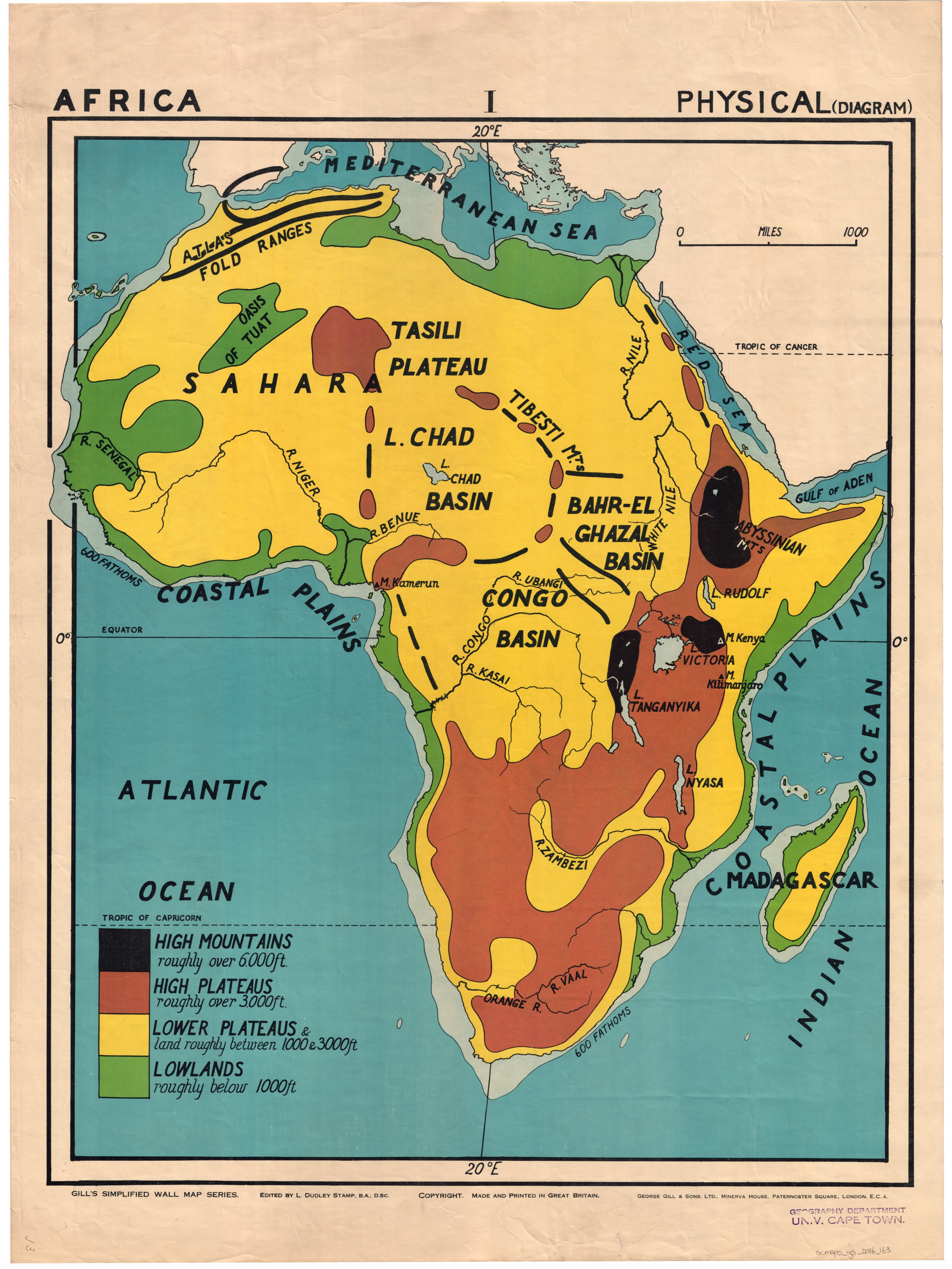 Africa : physical (diagram) | UCT Libraries Digital Collections