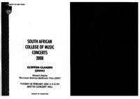 South African College of Music concerts 2008: Winner's Recital - the Lionel Bowman Beethoven Prize (2007), Baxter Concert Hall, Cape Town, South Africa : concert programme, Cape Town, South Africa : concert programme
