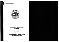 SACM Student's Quarterly Concert, Baxter Concert Hall, Cape Town, South Africa