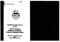 The 7th Annual Schock Foundation Prize for Chamber Music, Baxter Concert Hall, Cape Town, South Africa