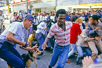 Police dispersing student protestors, Johannesburg, South Africa