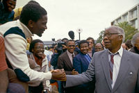 Govan Mbeki's release from prison, Port Elizabeth, South Africa