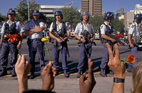 Riot police facing student demonstrators, Johannesburg, South Africa