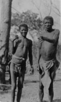 Grandfather and Grandmother of Bushman group. Near Kaionga's village. D.F. Bleek