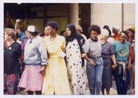 Women's protest, forming a human chain round the P.M.B.[Pietermaritzburg] cathedral
