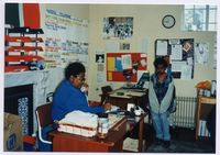 Norma Nabe of Cape Town A[dvice] O[ffice] at her desk 1993, Mowbray