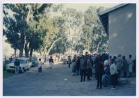 [Pension pay-out queues at the Zolani Centre Nyanga 1993]