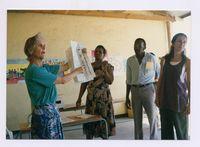 "Sash voter-education Val Goldsmit explains as Maureen Hamse translates at Topcor Centre Unathi Old Crossroads"""""