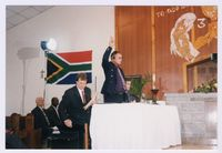 Dr Neil [Niel] Barnard takes the oath at a TRC Special Hearing on state security sys[tems] 04/12/1997