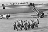 East German border guards arriving as part of the UN forces