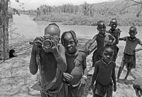 Ovahimba children play at a fomer SADF missile site