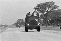Soldiers transported in trucks, Rundu