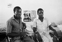 War-injured People's Liberation Army of Namibia (PLAN) and South African Defence Force (SADF) combatants share a hospital room at Oshakati Hospital