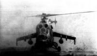 Gunship landing in Balombo, Angola