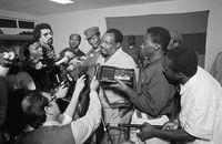 Dr Jonas Malheiro Savimbi at a press conference