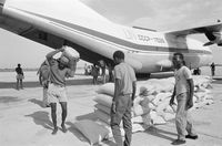 Food supplies arrive by air in Luena, Angola
