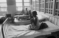 Landmine victims and was injured await treatment