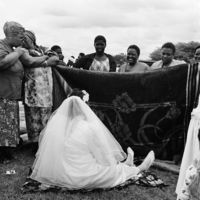 Stubborn bride at a Shembe or Nazareth Baptist Church wedding