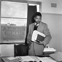 Mandela in law office, Johannesburg, 1952