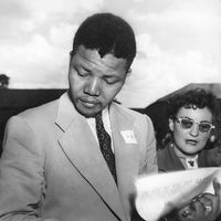 Mandela with Ruth First, ANC conference, 1951