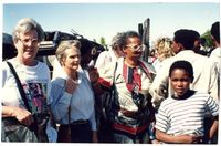 Monitors in the field with Sister Mosala after the arson attacks in Khayelitsha 1991 after a Press Conference convened by Sister Rosala at Sosibenza School where 28 families were housed after the fire