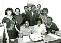 Cathie Binnell, Debbie Mathews & Hein Luytens (Sached) with trainees in Black Sash P.E. Office. Oct 1991