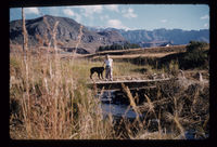 Old Ndumeni Bridge. Cathedral Peak. Ingrid & Blacki. End May 1961