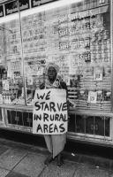 Woman protesting rural conditions, South Africa, circa 1985