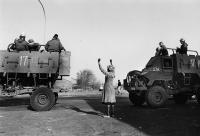 Woman protests army occupation, Soweto, 1985