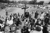 Women and children praying, Crossroads, South Africa, 1982