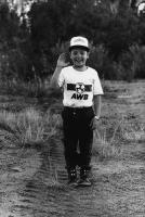 Little boy giving Afrikaner-Weerstandsbeweging (AWB) salute, Pretoria, South Africa, 1986
