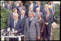Mandela and De Klerk at a meeting, Cape Town