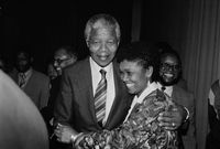 Nelson Mandela and supporter, Cape Town