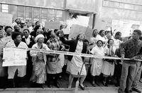 SADWU march, Johannesburg, 1990