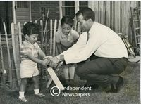 Basil D'Oliveira and his sons at their Worcestershire home