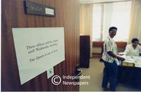 A sign on Winnie Mandela's office door, Cape Town