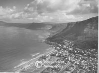 Aerial view of coastline from Muizenberg to Fish Hoek, Cape Town