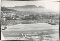 Aerial view of Muizenberg and the empty plot where the Pavilion once was, Cape Town