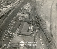 Aerial view of photograph of the aftermath of a train accident, Cape Town