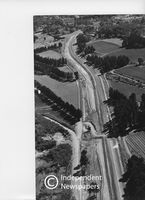 Aerial view, freeway construction, Constantia Valley, Cape Town