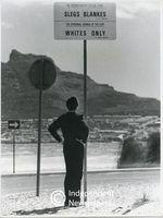 Apartheid signage at Hout Bay beach