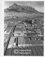 Aerial view with Table Mountain in the background, Cape Town, 1981